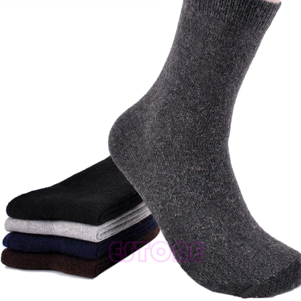 5 Pair Pure Color Mens Warm Winter Thick wool mixture ANGORA Cashmere Socks