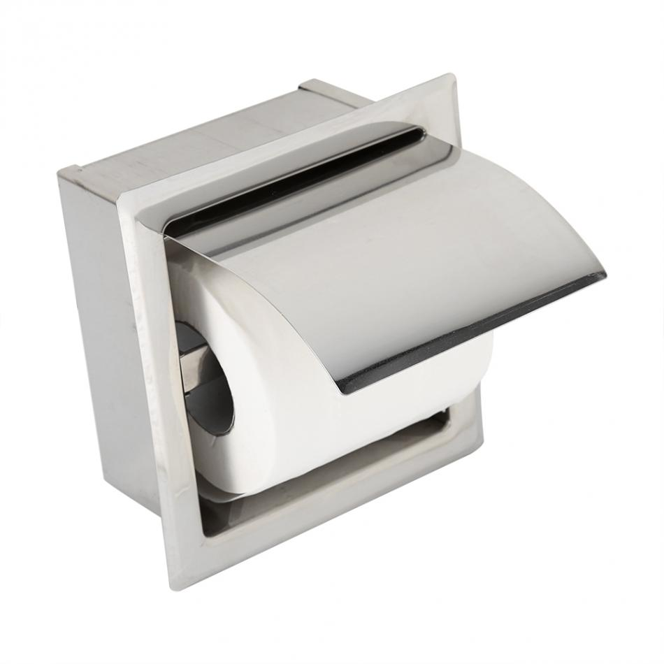 Fdit Stainless Steel Bathroom Toilet Paper Holder Roll Tissue Box Wall Mounted Holder Roll-in Type Bathroom Roll Paper Rack 2pc welcome car door light led laser logo projector for mercedes benz w212 w205 w176 c204 s212 x166 w246 w242 amg e b c ml class