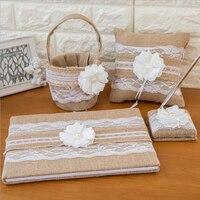 5Pcs/set jute burlap linen bow Wedding Decor Supplies Ring Pillow Flower Basket Garter Guest Book Pen set bride accessories