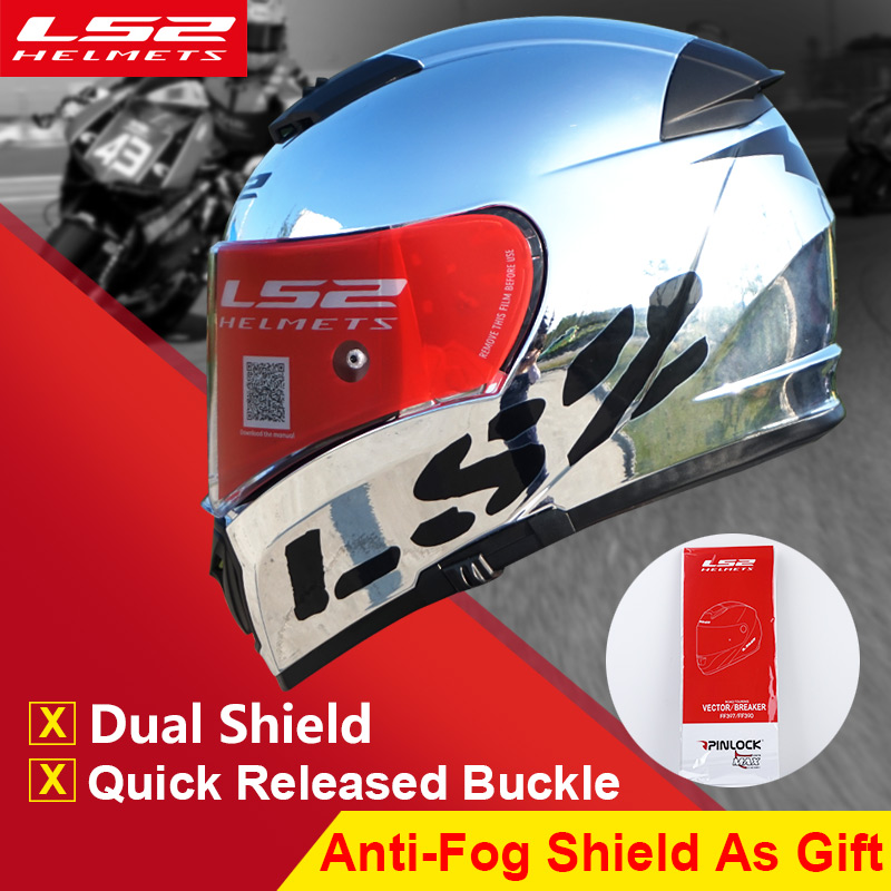Heißer verkauf LS2 ff390 Chrom full face motorrad helm mit innensonnenblende Racing moto Helme mann motorrad capacete motoqueiro