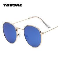 YOOSKEWomens Round Sunglasses Goggles Silver Gold Metal Bright Reflective Lenses Sun Glasses Women UV400 Shades Vintage Eyewear