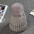 New Faux Fur Ball Solid Winter Hats For Women Girl's Wool Knitted Hat Ladies Cotton Beanies Thick Female Cap
