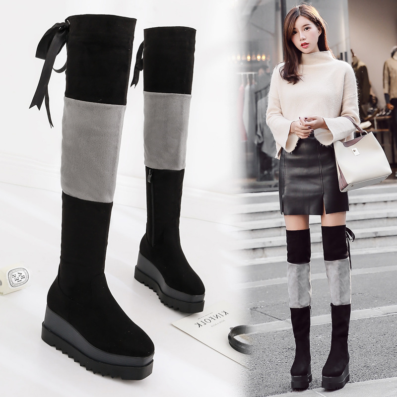 2018 new stretch boots Korean version of the new autumn and winter spell color stretch thin tube with rough women boots tide