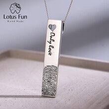 قلادة مصنوعة من الفضة الإسترليني 925 على شكل زهرة اللوتس مصنوعة يدويًا بشكل إبداعي طبيعي مجوهرات فاخرة ببصمة الإصبع قلادة بدون عقد
