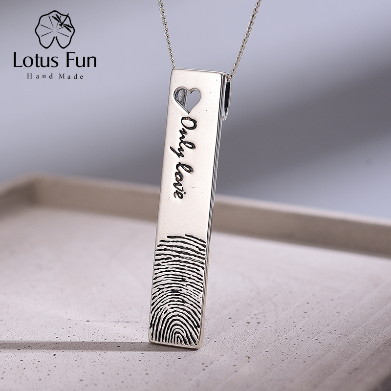 Lotus Fun Real 925 Sterling Silver Natural Creative Handmade Fine Jewelry Personality Fingerprint Pendant Without Necklace
