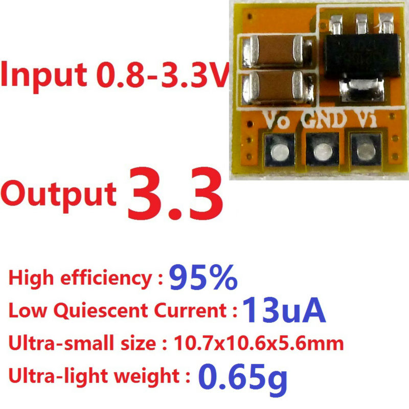 Low Quiescent Current 1.5V 1.8V 3V to 3.3V Boost DC DC Converter Board for ESP8266 nrf24l01 LCD LED RF Wifi Bluetooth Module ガーミン ストライカー プラス 7sv