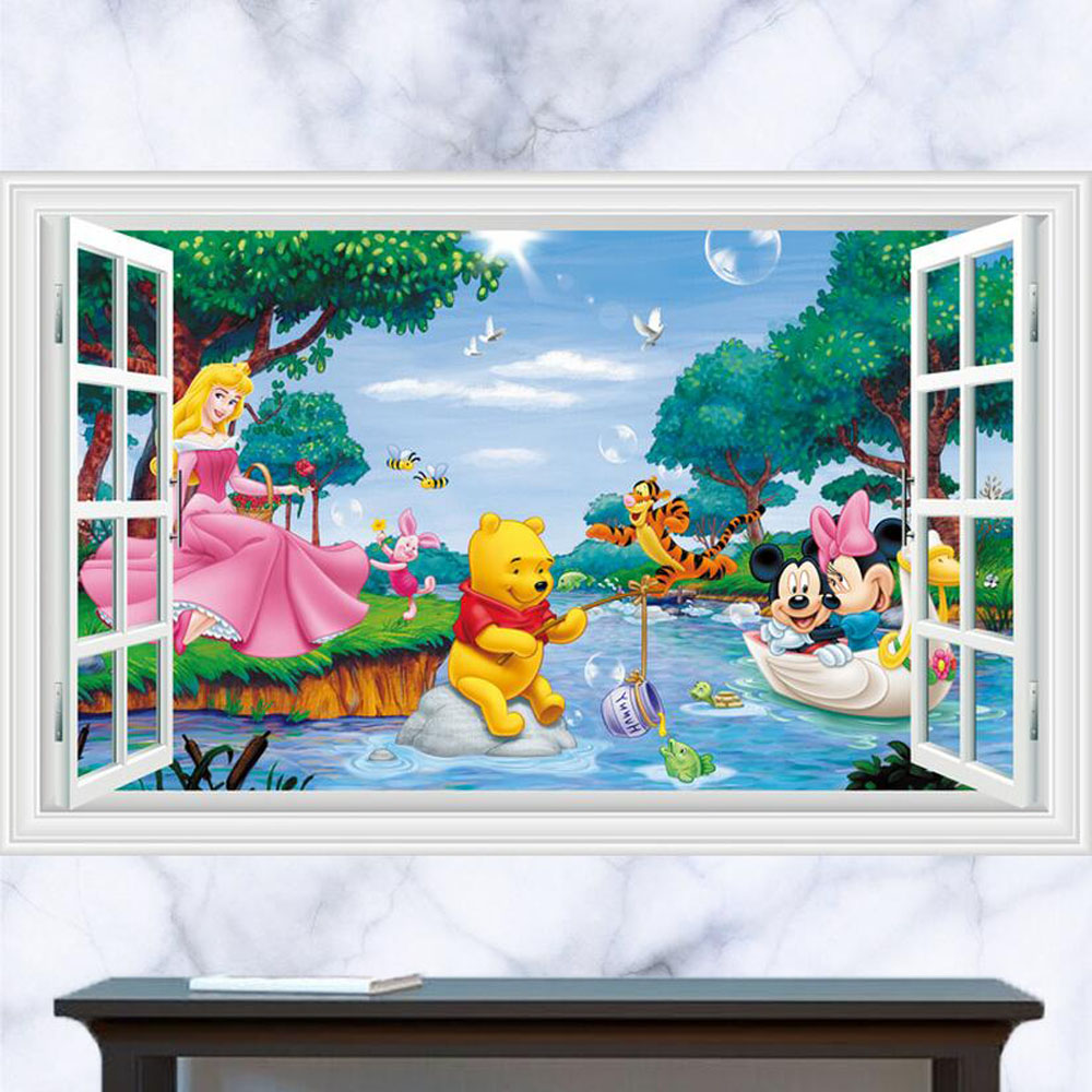 Baby Bedroom Winnie The Pooh Wall Stickers 3d Mickey Mouse Wall Decals For  Kids Room Removable