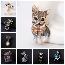Lively Pride Cat Brooch para Party Shell Metal Crown Blue Crystal Esmalte Pin Black Animal Brooch para Mujer Accesorios de joyería