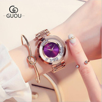GUOU Watches Women Luxury Exquisite Rhinestone Wristwatches Fashion Rose Gold Ladies Watch Full Steel Clock Relogio