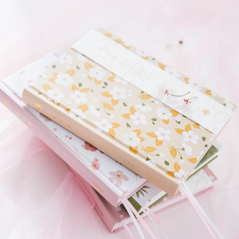 Dotted Notebook A5 Japanese Kawaii Cute Sakura Flower Planner Dairy Monthly Weekly Planner Colorful Blank Line Grid Dot Page