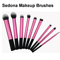 Super soft Taklon hair High Quality 9 pieces pink make up brushes set powder blush kabuki blush blending eye shadow liner angle