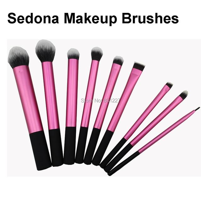 Super suave Taklon pelo de Alta Calidad 9 unidades de color rosa maquillaje cepillos kabuki powder blush rubor mezcla de sombra de ojos delineador de ángulo