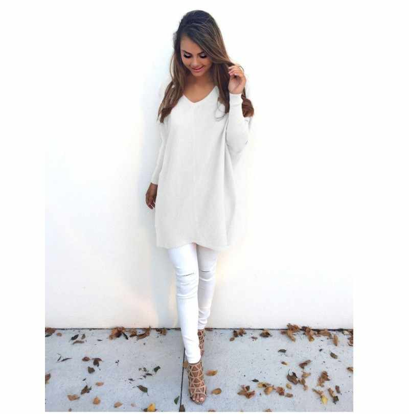 Winter Sweater Women Pullover Knitted Woman Sweater Female Long Sleeve Casual V-neck Grey Black White Solid Sweater