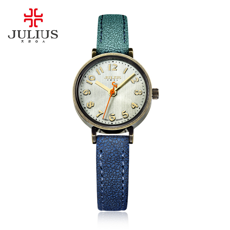 Blue Jeans Watch Women Antique Quartz Julius Watches Luxury Brand Casual Cool Gradient Leather Strap Bronze