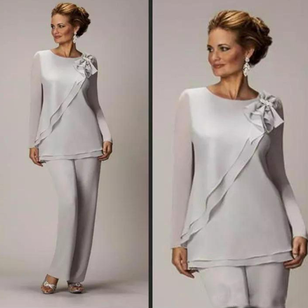 Slivery Two Pieces Mother Of Bride Pants Suit For Weddings Cheap Chiffon Mother's Groom Pant Suits Long Sleeve Formal Wear