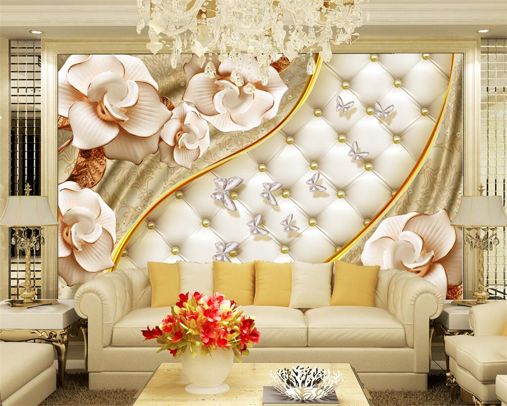 Beibehang Custom Photo Wall Mural 3d Wallpaper Luxury: Beibehang Custom Wallpaper 3d Luxury Gold Jewelry Flower