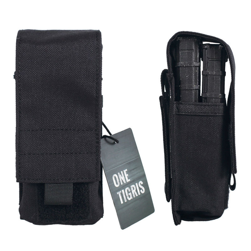 OneTigris 1000D Nylon Tactical Pistol Magazine Pouch Fast MOLLE M4 Utility Ammo Pouch Single Rifle Mag Pouch Holds 2 Magazines