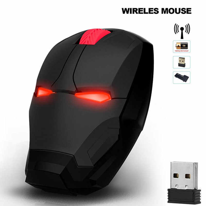 Iron Man Wireless Mouse Mouse Gaming Mouse Gamer Mouse Komputer Tombol Silent Klik 800/1200/1600/2400 dpi Dapat Disesuaikan Komputer