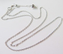 Pure 18K White Gold Necklace Special 1.3mm Cable Link Chain Necklace 19.7inch Length Hallmark: Au750