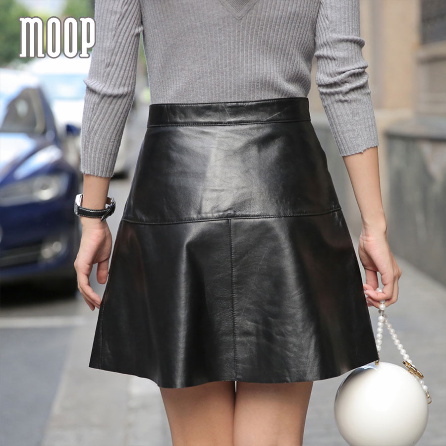 Black genuine leather skirts women A Line ball gown skirt faldas ...