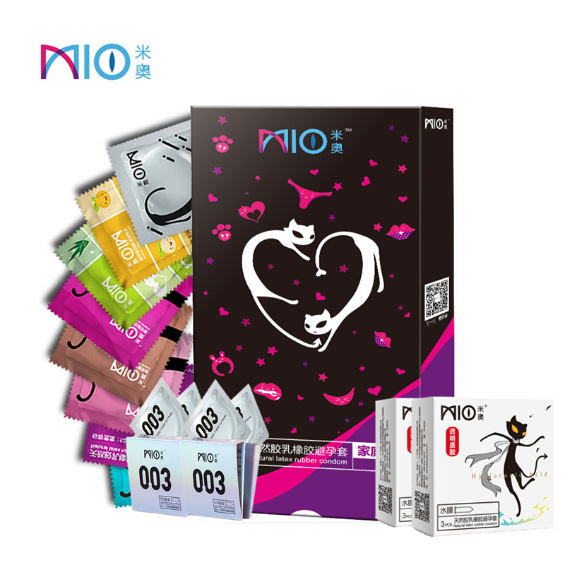 MIO Condom Ultra-thin Spiral Granule Lubrication 8 Type Pleasure 1 Box 58/108Pcs/ Lot Natural Latex Condoms Sex Shop Product