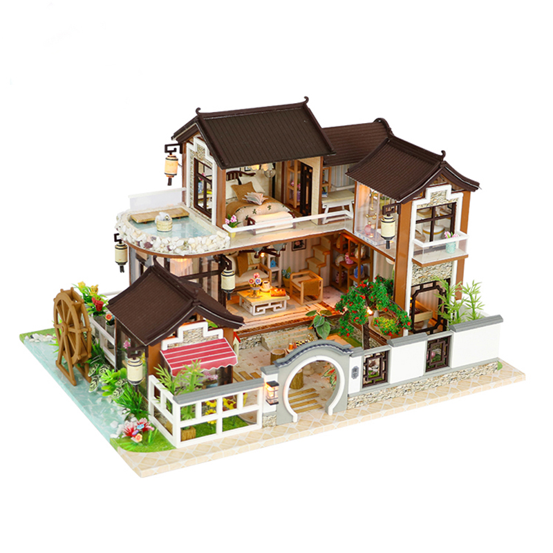 DIY Dollhouse Miniature Doll House With Furniture Vintage Building Kits 3D House For Dolls Toys For Children Birthday Gift #E diy doll house with furniture house for dolls miniature dollhouse building kits wooden handmade model toys for children dg12 e