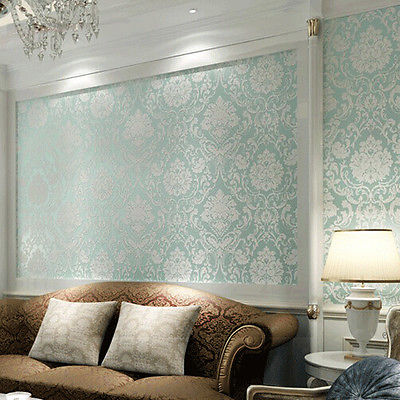 European Non Woven Metallic Modern Fl Damask Wallpaper Living Room Design Vintage Textured Roll 10m 53cm In Wall Stickers From Home