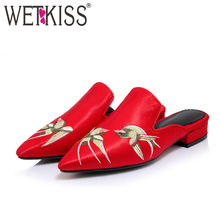WETKISS Size 34-43 Pointed Toe Chunky Heels Mules Chinese Ethnic Style Embroidery Summer Slippers Casual Shoes Woman Slides