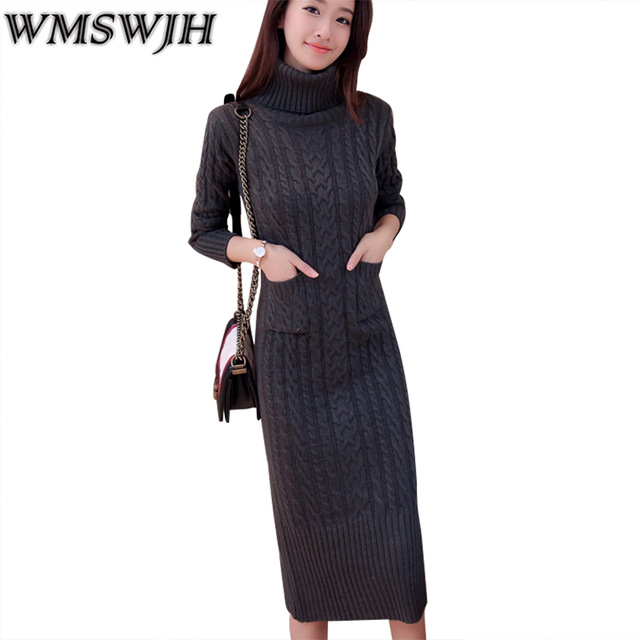 2018 New Women Turtleneck Sweater Package Hip Sweater Dress Long Sleeve Slim Knitted Dress Autumn & Winter Long Vestidos WJH178