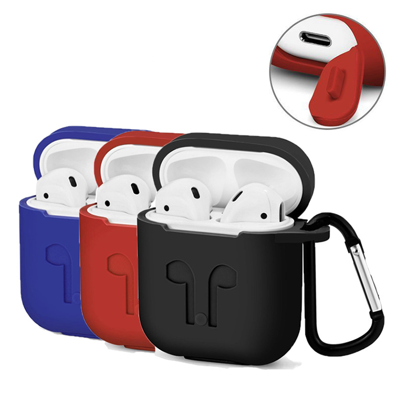 For Apple Airpods Silicone Case Soft Cover Protector with Dust Plug Anti Lost Strap Sleeve Pouch for Air pods Earphone (1)
