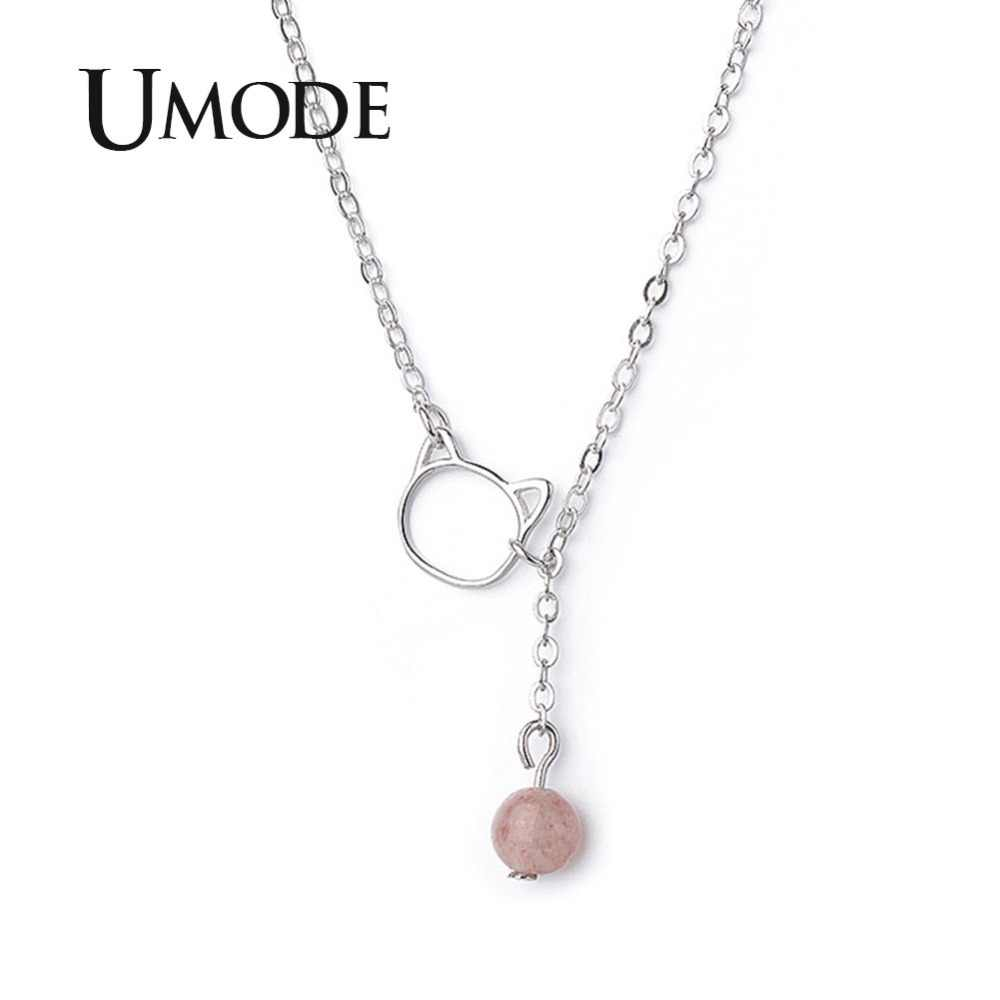 UMODE Strawberry Crystal Cat Pendant Necklaces Chain for Women Fashion Jewelry Valentines Day Gift collier femme UN0320