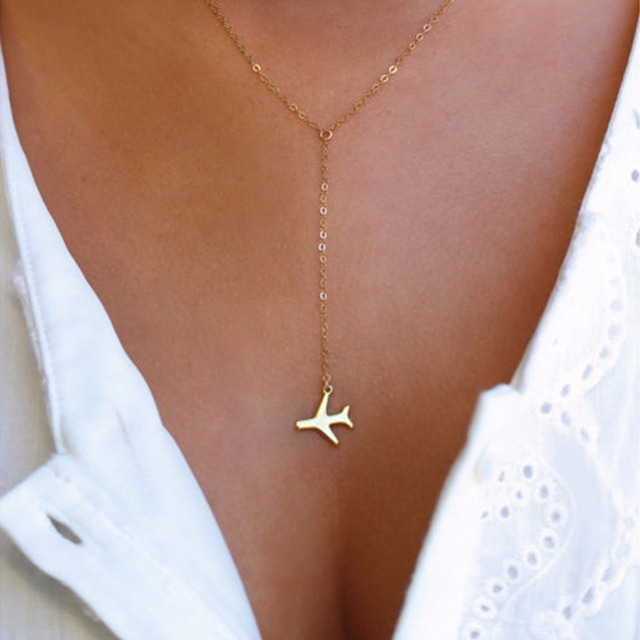 Rose Gold Gun Black Plane Airplane Pendant Necklace Aircraft Chain Layered Necklace For Women Tiny Dainty Necklace Jewelr#256825