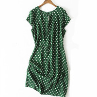 Women Summer Silk Dress O neck Polka Dots Vintage Natural silk dresses Green Elegant Dress plus size big size real silk dress