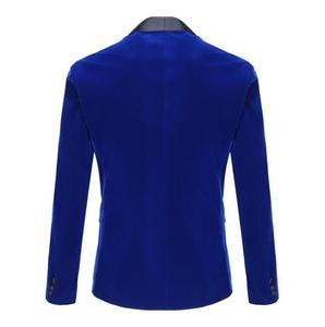 Image 2 - PYJTRL erkek sonbahar kış klasik şal yaka kraliyet mavi kadife düğün damat takım elbise ceket eğlence Blazer Masculino Slim Fit