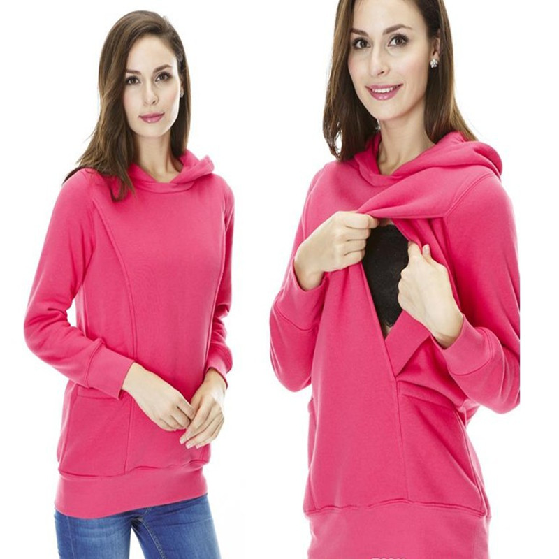 Fashion Spring Autumn Winter Maternity Clothes Breastfeeding tops Nursing Warming Long Sleeve Maternity Hoodie sweater B0286