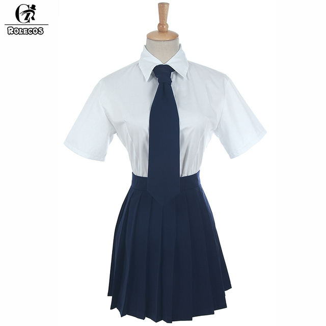 99e7a4cb2 ROLECOS New Arrival Japanese School Girl Uniforms Short Sleeve White Shirt  Navy Blue Skirt with Tie 3pcs Set Cosplay Coestumes