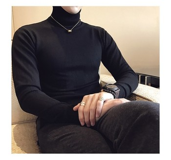 2019 Autumn New Men's Turtleneck Sweaters Male Black Gray Sexy Slim Fit Knitted Pullovers Solid Color Casual Sweaters Knitwear 1