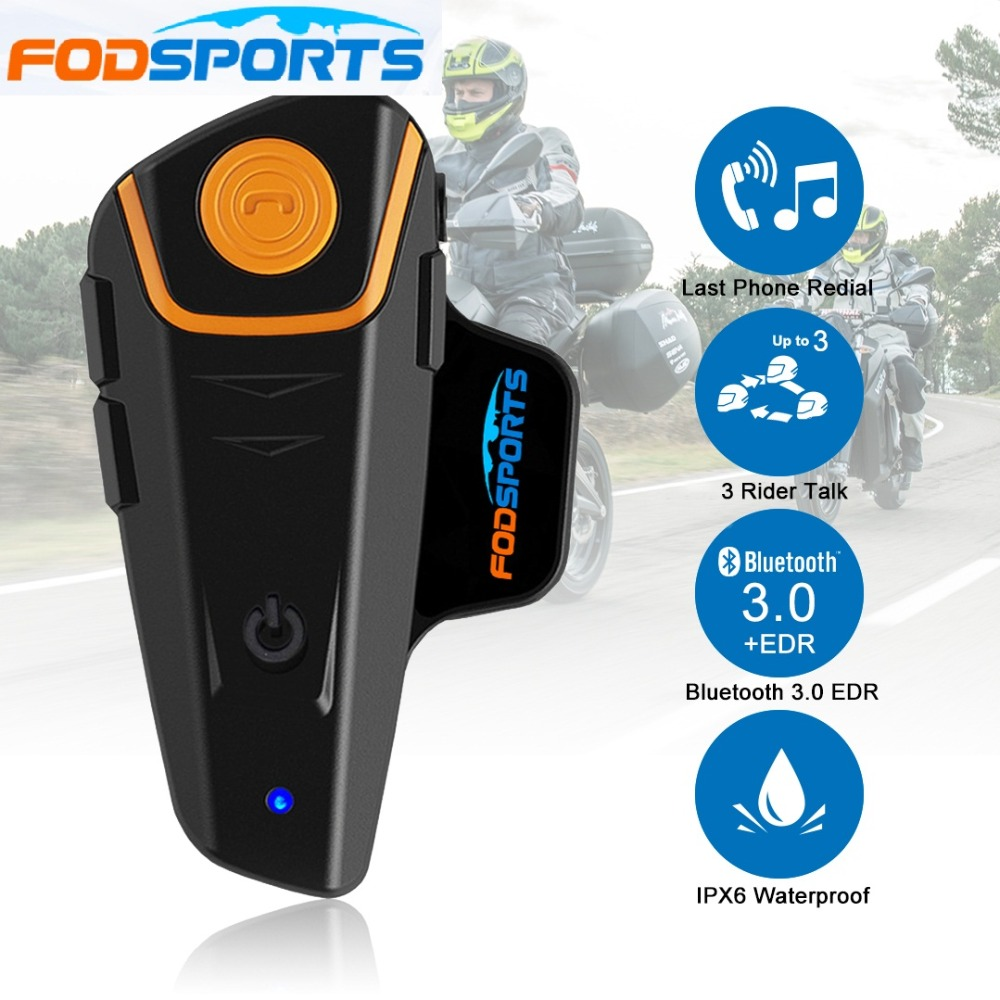 Fodsports Headset Intercom Motorcycle-Helmet Bluetooth-Motorbike BT-S2 Stereo Music Waterproof title=