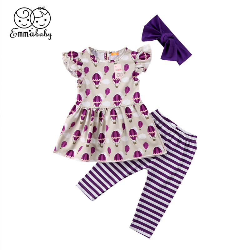 3Pcs Casual Children Clothing 2018 New Baby Girls Balloon Printed Flutter Sleeve Tops Mini Dress+Striped Pants Baby Girl Clothes