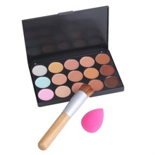 New Fashion 15 Colors Contour Cream Makeup Concealer Palette Sponge Puff Powder Brush