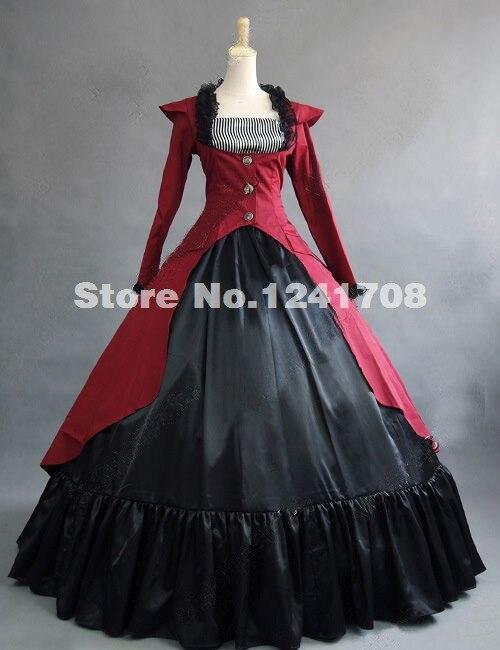 Venta Caliente Rojo Gótico Renacimiento Colonial Dress