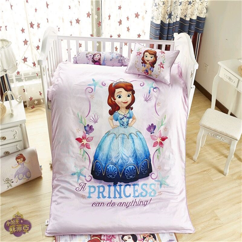Disney Princess Sophia Mickey Minnie Sofia Toddler Bedding Set Crib 3 Pcs Covered Sheet Pillow Case Boy Girls Baby Crib Bed 0.6M