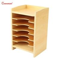 Montessori Wood Educational Toy Geometric Card Cabinet Children Preschool Montessori Materials Box Sensorial Toys Kids SE040 3
