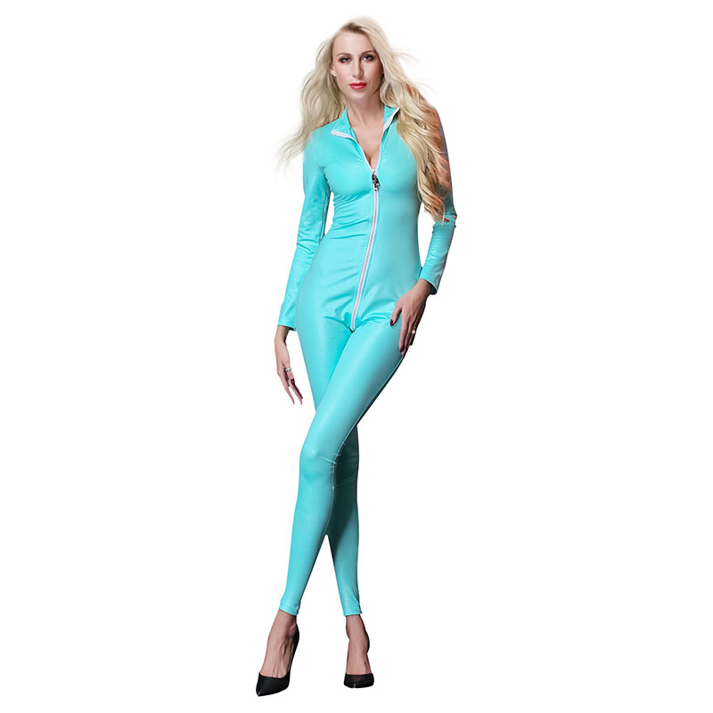3 Colors Jumpsuit For Women Zipper Front Long Sleeve Wetlook Faux Leather Sexy Bodysuit Plus Size XXL Skinny Overalls Jumpsuit
