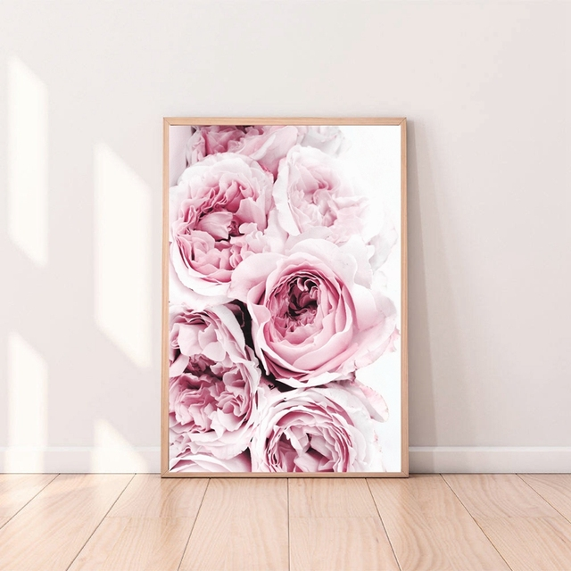 Canvas Painting Pink Floral Peony Canvas Poster Print for living ...
