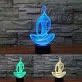 Lámpara de fábrica 3d yoga meditación nightlight colorido luces cambiantes ilusión creativa usb de escritorio de tabla del led lampara atmósfera