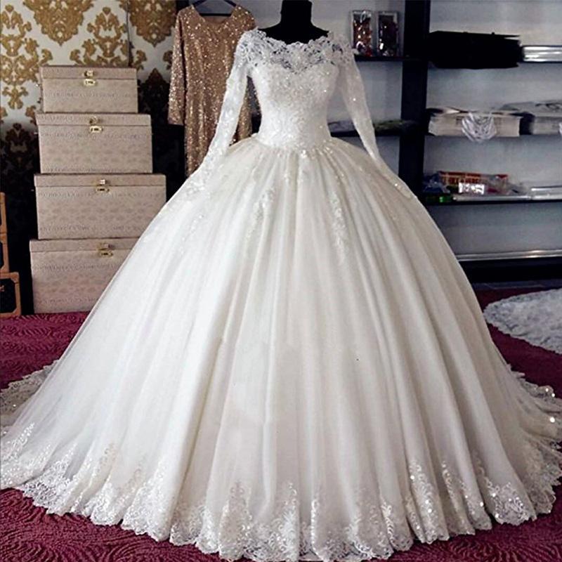 Gelinlik Saudi Arabia Wedding Dress 2019 Long Sleeve Lace Applique Women Bridal Dress Muslim casamento vestido