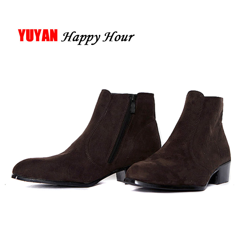 Chelsea Boots Men Autumn Early Winter High Top Ankle Boots Pointed Toe Flock Nubuck Brand Winter Shoes Fashion Mens Boots T112 Счастье