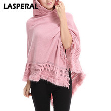 LASPERAL Spring Sweaters Poncho Women cape Knitted christmas sweater Tassel Hooded pullover cloak pullover femme shrug Sweater(China)