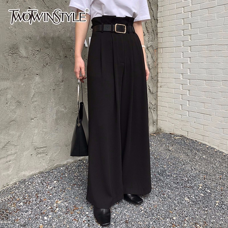 TWOTWINSTYLE Sashes   Pants   Female Ruched High Waist Ruffles Pocket Long   Wide     Leg     Pants   Women 2018 Spring Fashion Elegant Clothing